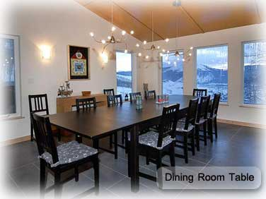 beautiful dining room in garth house in crested butte