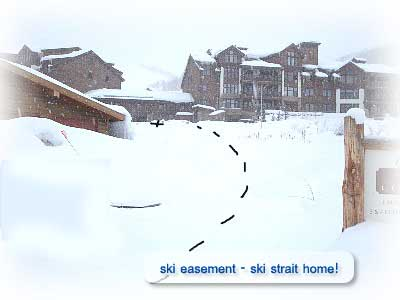 Ski easement for ski in access to the Skihaus for rent in Crested Butte