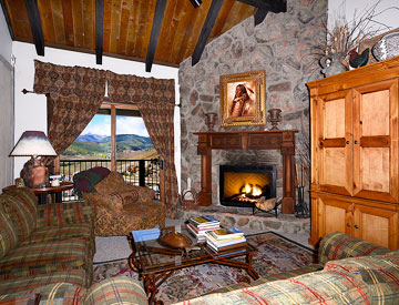 living room of ski in and out condo crested butte
